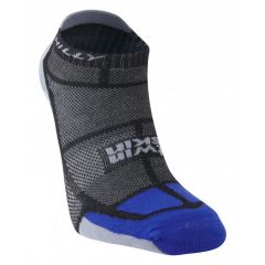 Hilly Twin Skin Vented Anti Blister Running Sports Socklet Sock - Black/Grey/Blue