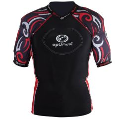 Optimum Sports Razor Removable Padding Protective Junior Rugby Top - Black/Red