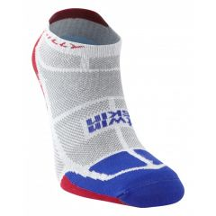 Hilly Twin Skin Vented Anti Blister Running Sports Socklet Sock - Grey/Blue/Red