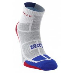 Hilly Twin Skin Anklet Vented Anti Blister Running Socks - Grey/Blue/Red