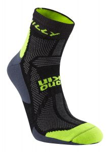 Hilly Off Road Anklet Socks Merino Wool Mid Level Cushioning Black/Yellow