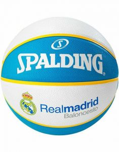 Spalding Euro League Team Real Madrid Durable Rubber Cover Outdoor Basketball