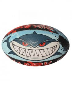 Optimum Sport Hand Stitched Rubber Outer Balanced Weight Shark Attack Rugby Ball