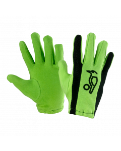 Kookaburra Cricket Full Finger Bat Gloves Green Cotton Batting Inners - Junior