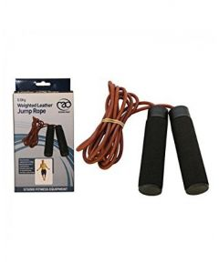 Fitness Mad Leather Weighted Skipping Endurance Jump Rope With Wooden Handles