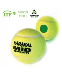 Karakal Mid Green Tennis Ball ITF Approved Low Pressure & Bounce Ball - 1 Dozen