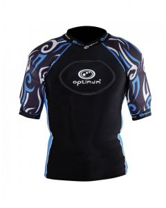 Optimum Sports Razor Removable Padding Protective Lycra Rugby Top - Black/Blue