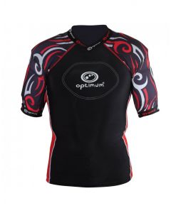 Optimum Sports Razor Removable Padding Protective Lycra Rugby Top - Black/Red