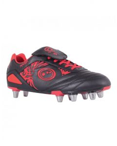 Optimum Sports Razor Light Synthetic Rugby And Football Stud Boots - Black/Red