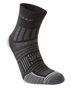 Hilly Twin Skin Anklet Socks Running Performance Training Sport – Black/Grey