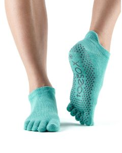 ToeSox Full Toe Low Rise Grip Socks For Barre Pilates Yoga Dance – Aqua