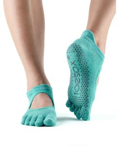 ToeSox Full Toe Bella Bellarina Grip Socks For Barre Pilates Yoga Dance - Aqua