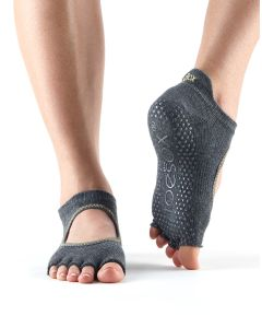 ToeSox No Toe Bellarina Pilates Yoga Dance Martial Arts Grip Socks - Charcoal/Lime