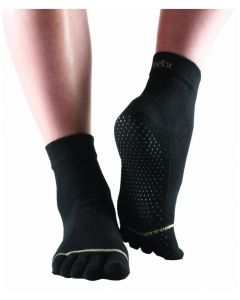 ToeSox Full Toe Ankle Pilates Yoga Dance Non Slip Exercise Studio Socks - Black