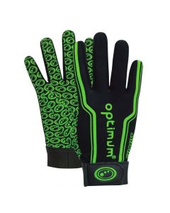 Optimum Sport Velocity Thermal Rugby Gloves Winter Training Insulated Grip-Black/Green