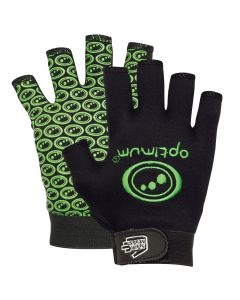 Optimum Sports Stik Mits Half Finger Wrist Strap Junior Rugby Gloves Black/Green