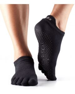 ToeSox Full Toe Low Rise Grip Socks For Barre Pilates Yoga Dance - Black