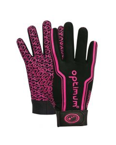 Optimum Sport Velocity Thermal Rugby Gloves Winter Training Insulated Grip-Black/Pink