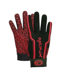 Optimum Sport Velocity Thermal Rugby Gloves Winter Training Insulated Grip-Black/Red