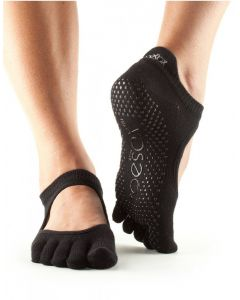 ToeSox Full Toe Bella Bellarina Grip Socks For Barre Pilates Yoga Dance - Black
