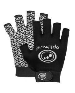 Optimum Sports Stik Mits Half Finger Wrist Strap Junior Rugby Gloves Black/White