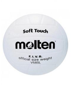 Molten V58SL Series Synthetic All White Nylon Leather Dual Layer Volleyball