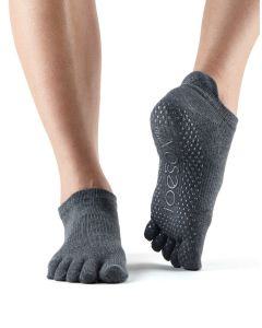 ToeSox Full Toe Low Rise Grip Socks For Barre Pilates Yoga Dance - Charcol Grey