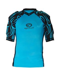 Optimum Sports Razor Removable Padding Protective Lycra Rugby Top - Cyan/Black