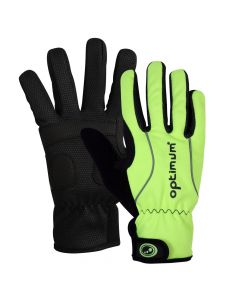 Optimum Sports Hawkley Junior Winter Cycling Gloves Padded & Reflective - Fluro Green