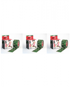 Rocktape Strong Adhesive Kinesiology Tape Patterned Rolls x 3 - Green Camouflage