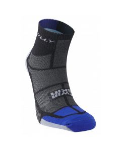 Hilly Twin Skin Anklet Vented Anti Blister Running Socks - Black/Grey/Blue