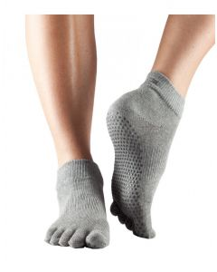 ToeSox Full Toe Ankle Pilates Yoga Dance Non Slip Exercise Studio Socks - Heather Grey