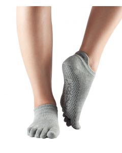 ToeSox Full Toe Low Rise Grip Socks For Barre Pilates Yoga Dance - Heather grey