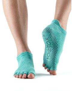 ToeSox Half Toe Low Rise Pilates Yoga Dance Grip Socks Barefoot - Aqua
