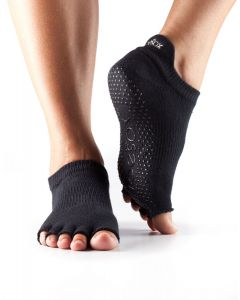 ToeSox Half Toe Low Rise Pilates Yoga Dance Grip Socks Barefoot - Black