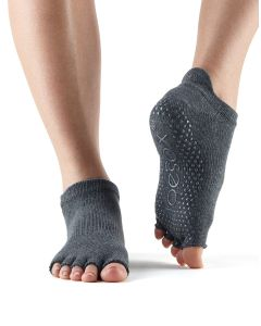 ToeSox Half Toe Low Rise Pilates Yoga Dance Grip Socks Barefoot - Charcoal Grey/Lime