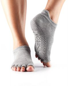 ToeSox Half Toe Low Rise Pilates Yoga Dance Grip Socks Barefoot - Heather Grey/Lime