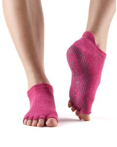 ToeSox Half Toe Low Rise Pilates Yoga Dance Grip Socks Barefoot - Raspberry