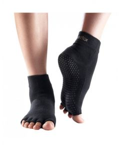 ToeSox No Toe Ankle Pilates Yoga Dance Martial Arts Grip Socks - Black