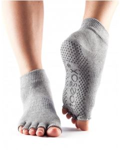 ToeSox No Toe Ankle Pilates Yoga Dance Martial Arts Grip Socks - Heather Grey