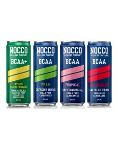 Nocco BCAA+ Cans Fizzy Caffeine Free Sports Amino Acid Energy Drink - 330ml x 24
