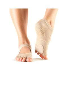 Toesox Half Toe Plie Dance Inspired Grip Socks With Leather Pad - Nude