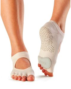 Toesox Half Toe Plie Dance Inspired Grip Socks With Leather Pad - Sweetpea