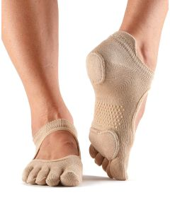 ToeSox Full Toe Prima Bellarina Yoga Pilates Dance Socks Fitted Heel Pad - Nude