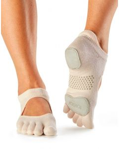 ToeSox Full Toe Prima Bellarina Yoga Pilates Dance Socks Fitted Heel Pad - Sweetpea