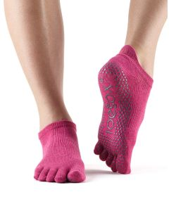 ToeSox Full Toe Low Rise Grip Socks For Barre Pilates Yoga Dance - Raspberry