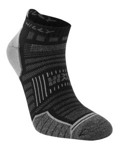 Hilly Twin Skin Socklet Socks Running Training Sports Performance - Black/Grey
