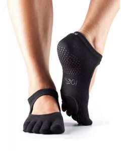 Toesox Full Toe Plie Yoga Pilates Dance Patented Leather Pads Grip Socks