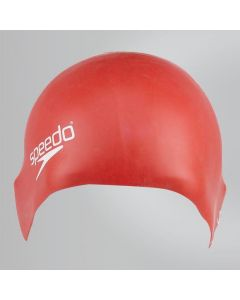 Speedo Junior Plain Moulded Silicone Hydrodynamic Durable Swimming Cap -Red