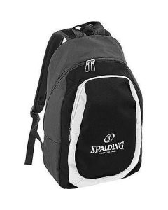 Spalding Solid Backpack For Kids With Patterned Shoulder Strap- Black/White